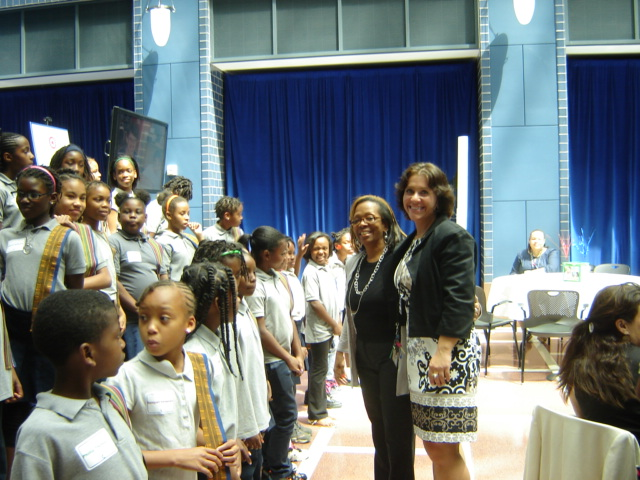 The ABES Chorus, Principal Miller and Music Teacher Para Perry at the EW!DC program.  (Photo: Ron McBee)