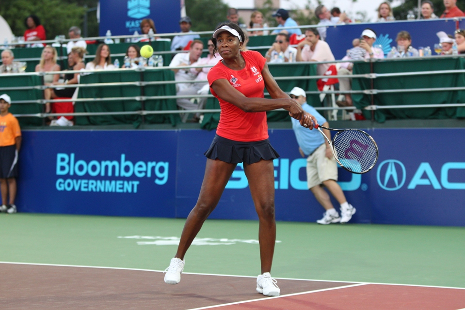 Venus Williams on the court. (Photo by Ned Dishman)