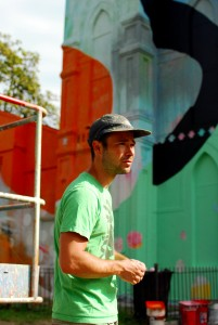 Washington, D.C. October 6, 2012. Atlanta-based artist Alex Brewer, pictured, is known for using bright colors and shapes in his murals. Brewer painted the 10,000 sq. ft. Baptist church, located at 700 Delaware Ave., SW, over a 2-week time. (Photo: Steffanie Giesler)