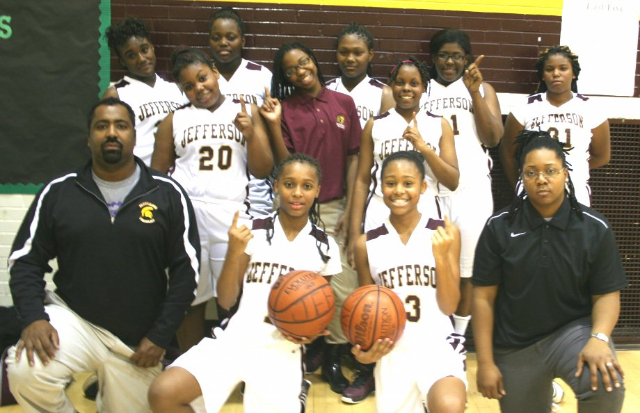 Jefferson Middle School girls basketball team in their new uniforms, donated through a YATF grant...just in time for a first game victory win with Hardy Middle School, 54  to 15. Great Game! (Photo: Saadia Athis)