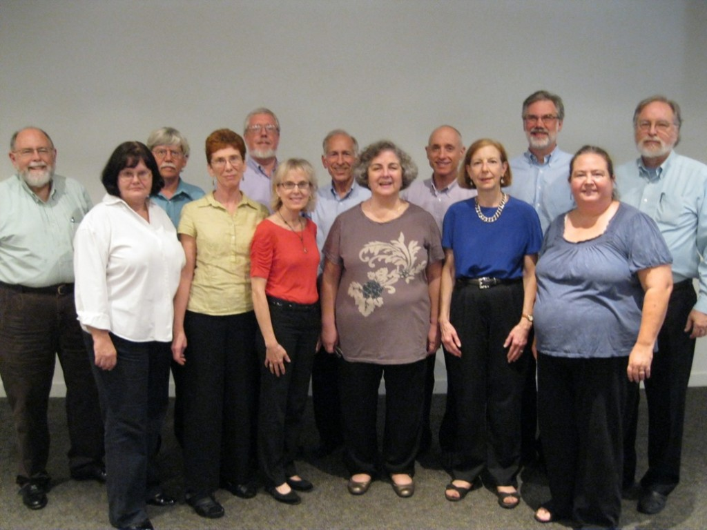 The Bethesda Chamber Singers: Front row, left to right: Ann Cook, Mimi Kuester, Nancy Allinson, Silvia Maza, Cathy Sloss, and Diane Mountain. Back row, left to right: Bill Richards, Peter Munson, Richard Cook, Bob Kibler, Gary Chirlin, Jon Mathis, and John Carley.