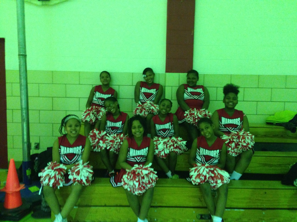 Amidon-Bowen cheerleaders raise school spirit to a new level. Photo: Christine Anderson