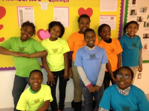 Amidon-Bowen fifth graders wear their Saturday School Scholar tee-shirts with pride. (Photo: Izabela Miller)